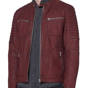 Mens Maroon Biker Jacket