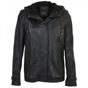Mens Black Leather Hooded Two Pockets Jacket