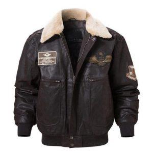 Dark Brown Collar Bomber Jacket