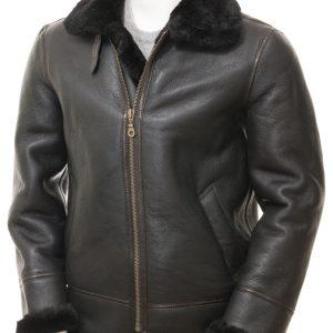 Black Sheepskin Aviator Jacket