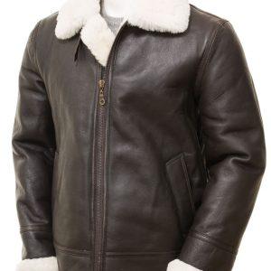 Men's Brown & Cream Sheepskin Jacket