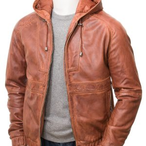 Men's Tan Hooded Jacket