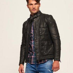 Classy Mens Black Slim-Fit Leather Jacket
