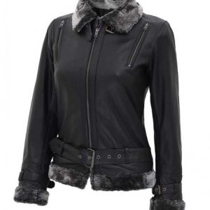 Womens Black Shearling Jacket