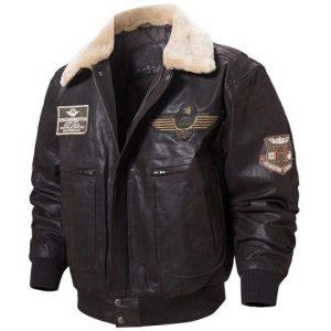 Mens Dark Brown Collar Bomber Jacket