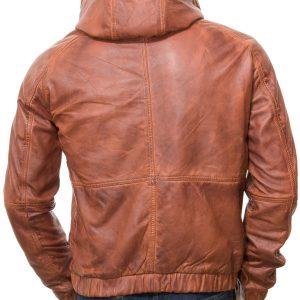 Men's Tan Leather Hooded Jacket