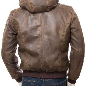 Brown Hooded Bomber Jacket