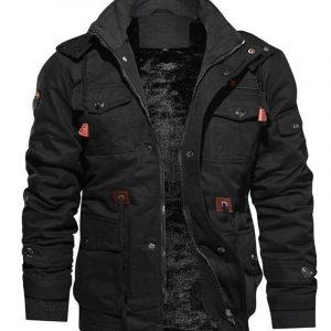 Mens Black Cotton Military Jacket