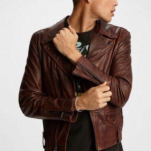 Mens Slimfit Brown Leather Jacket