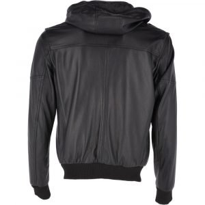 Leather Hooded Bomber Jacket Mens