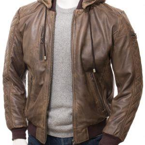 Men's Brown Hooded Bomber Jacket