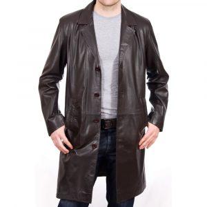 Men's Length Brown Leather Coat