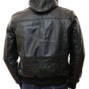 Black Leather Hoodie Bomber Jacket