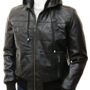 Men's Black Leather Hoodie Bomber Jacket