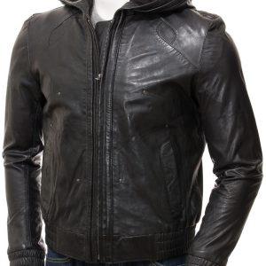 Black Hooded Jacket for Mens