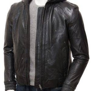 Black Hooded Jacket Mens