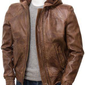 Mens Brown Hooded Jacket