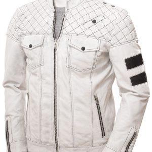 Men's White Quilted Biker Jacket