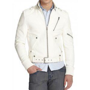 Men's Belted White Leather Moto Jacket
