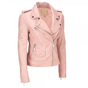 Womens Pink Biker Style Leather Jacket
