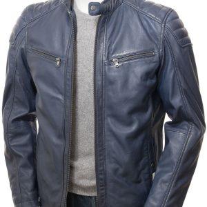 Blue Leather Cafe Racer Jacket
