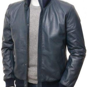 Men's Blue Leather Bomber Two Pockets Jacket