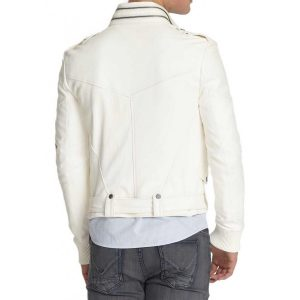 Men's Belted White Moto Jacket