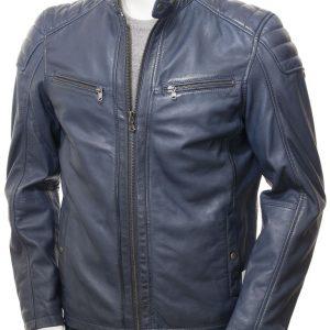 Blue Leather Racer Jacket Men