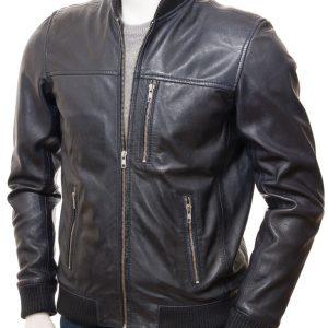 Men's Blue Leather Bomber Jacket