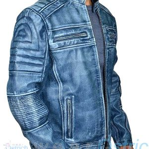Italian Blue Cafe Racer Leather Jacket for Men