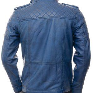 Men's Blue Leather Biker Jacket