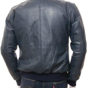 Blue Leather Bomber Two Pockets Jacket