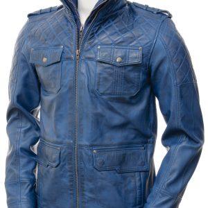 Blue Leather Biker Jacket Men's
